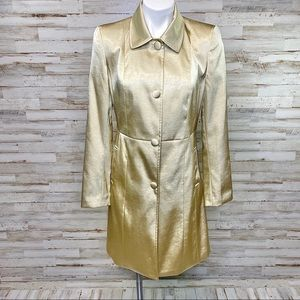Blanc Noir Gold Satin Long Trench Coat w/Pockets S